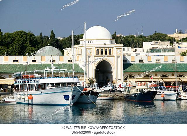 Mandraki Harbor with boats. Daytime. Rhodes. Dodecanese, Greece
