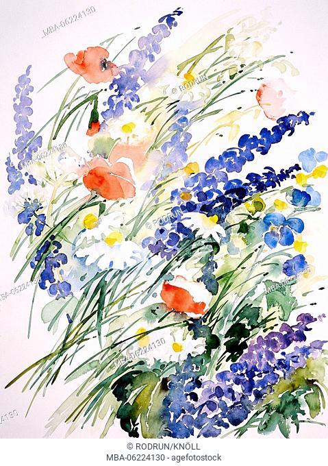 Watercolor by Waltraud Zizelmann, wild flowers, flower meadow