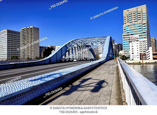 Eitai Bridge, Eitai-bashi, bridge over Sumida river, Chuo, Chuo-ku, Central Ward, Chuo-ku City, Tokyo, Japan