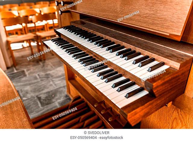Close up view of a church pipe organ