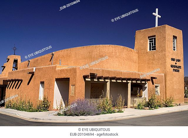 Our Lady of Guadalupe Parish Church built in the typical adobe style architecture
