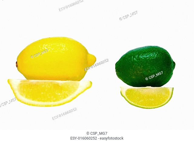 Isolated Lemon and Lime