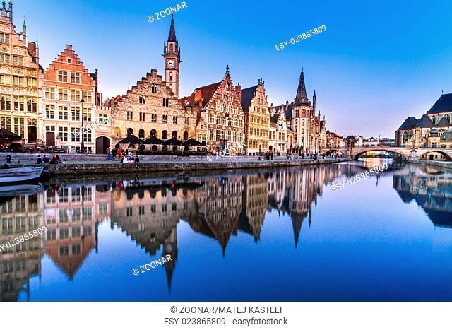 Leie river bank in Ghent, Belgium, Europe