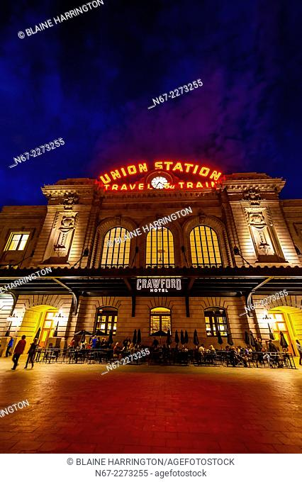 Exterior view of the newly renovated Union Station in Downtown Denver, Colorado USA