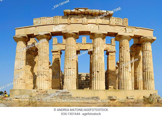 Full view of the Greek temple from Selinunte Sicily Italy