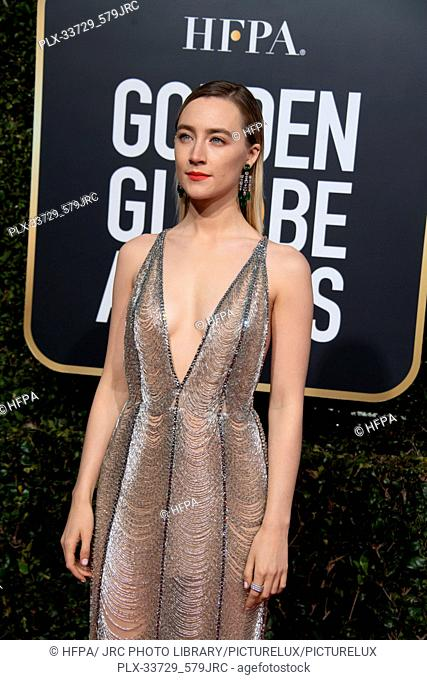 Saoirse Ronan attends the 76th Annual Golden Globe Awards at the Beverly Hilton in Beverly Hills, CA on Sunday, January 6, 2019