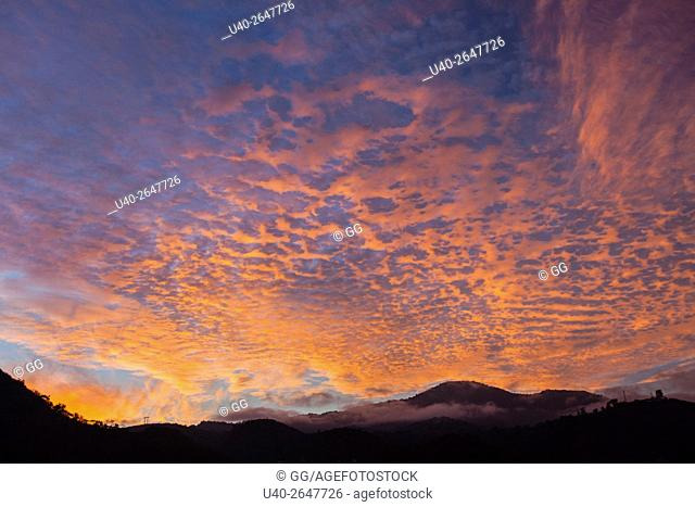 Guatemala, Antigua, Sunrise sky and clouds