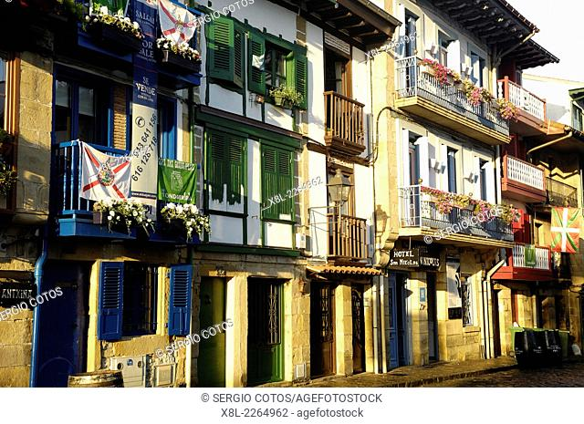 Street in the old city of Fuenterrabia, Basque Country, Spain