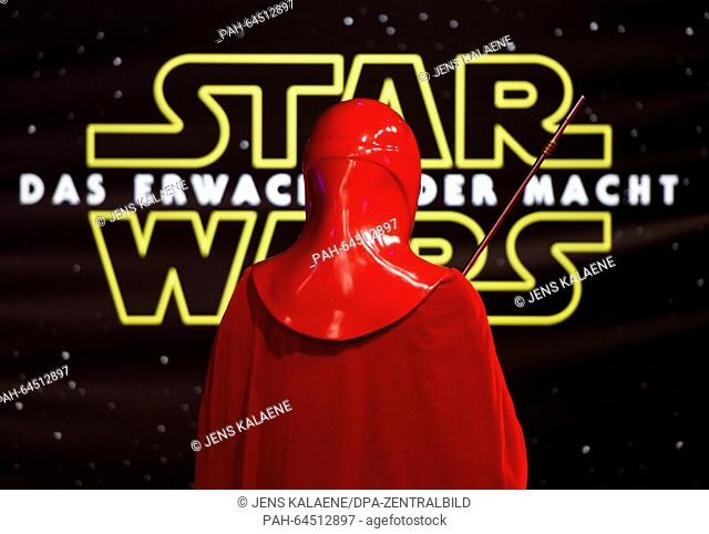 AStar Wars character impersonator poses on the red carpet at the German premiere of the new film 'Star Wars:The Force Awakens' in the Zoo Palast cinema...