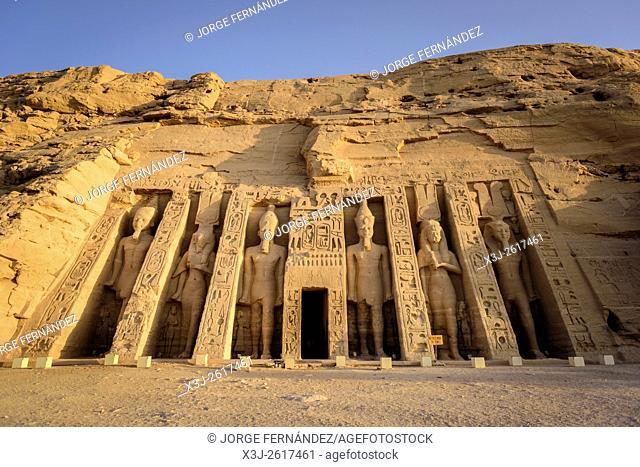Entrance of the Nefertari temple of Abu Simbel complex at sunrise