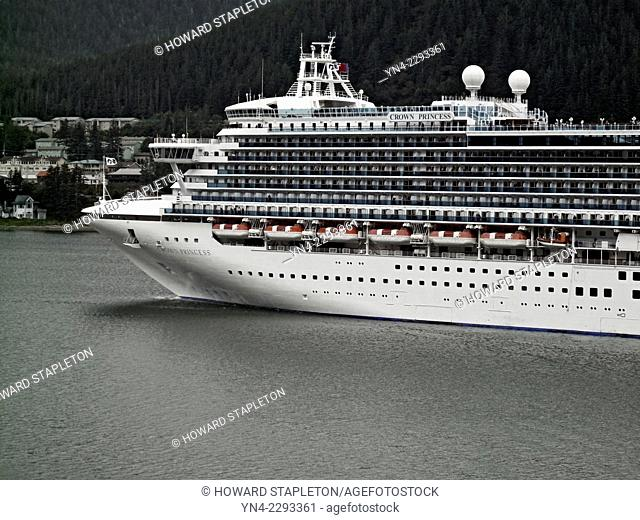 A large cruise ship in harbor at Juneau, Alaska