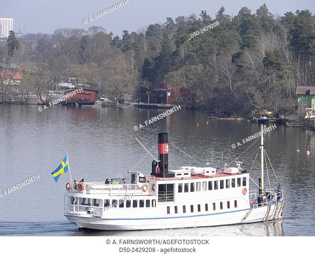 STOCKHOLM SWEDEN Ferry boat making a stop in Mälarhöjden, a residential neighborhood on the shores of Lake Mälaren
