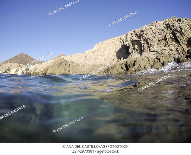 Underwater image in Cabo de Gata nature reserve in Almeria, Andalusia, Spain