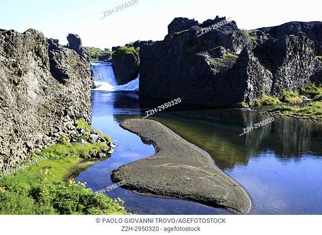 Hjalparfoss waterfall, Iceland, Europe