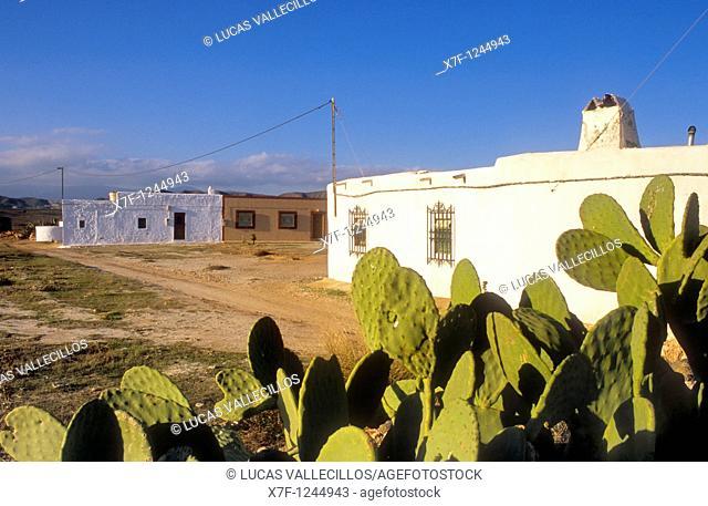 Los Albaricoques  Typical architecture Cabo de Gata-Nijar Natural Park  Biosphere Reserve, Almeria province, Andalucia, Spain