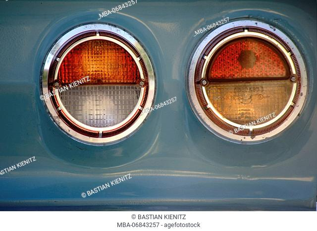 close-up of a round taillight of an old-timer