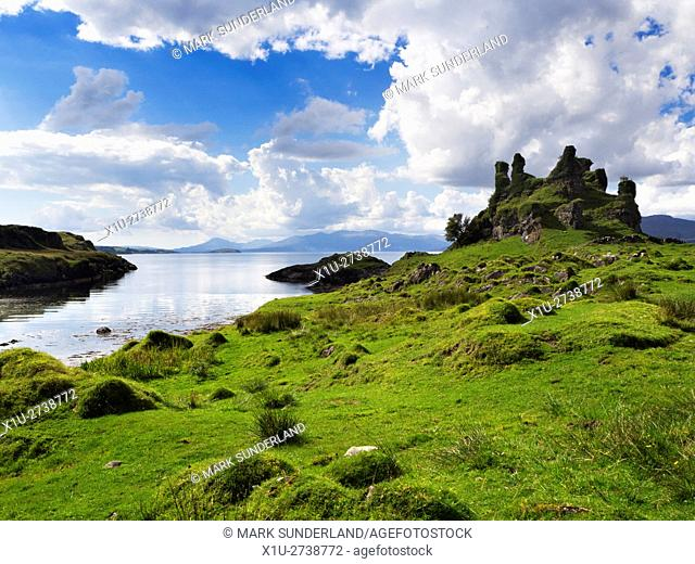Castle Coeffin overlooking the Lyn of Morvern Isle of Lismore Argyll and Bute Scotland