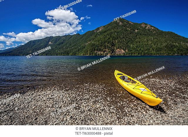 Yellow kayak on Lake Crescent
