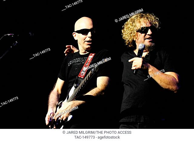 (L-R) Joe Satriani and Sammy Hagar of Chickenfoot perform at the Gibson Amphitheatre in Los Angeles