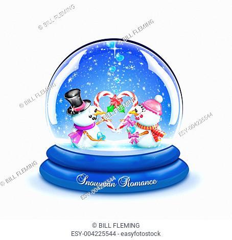 Snowman Candy Cane Romance Snow Globe