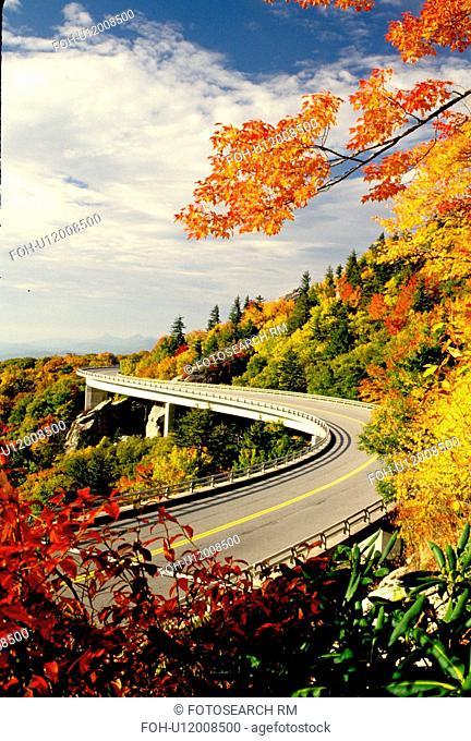 road, North Carolina, NC, Linn Cove Viaduct on the Blue Ridge Parkway in the autumn