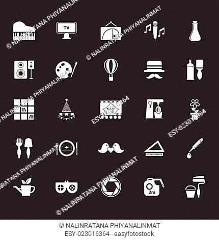 Art activity icons on gray background