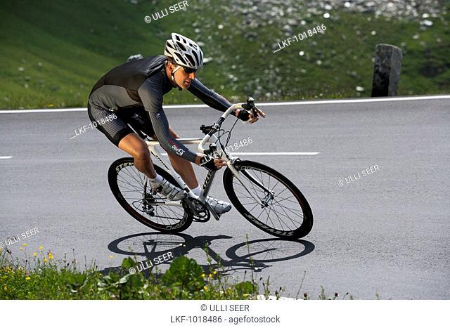 Cyclist on the Grossglockner road, Tyrol, Carinthia, Austria
