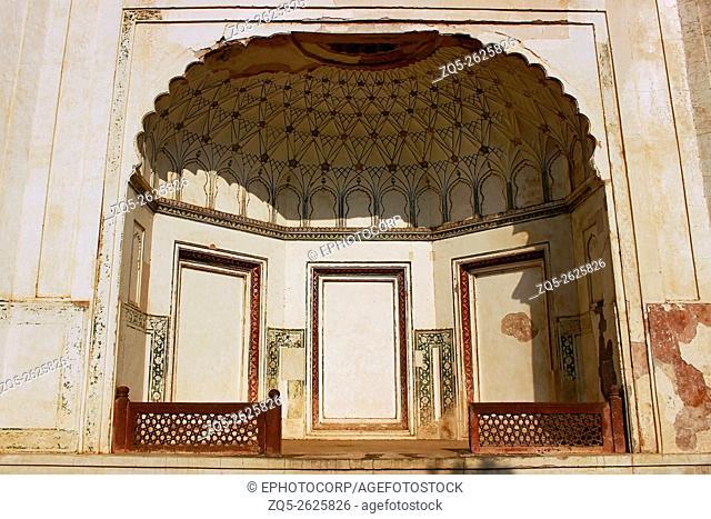 Ceiling carvings, Baradari, The Bibi-Ka-Maqbara. Aurangabad, Maharashtra, India