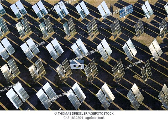 Rows of solar panels, so-called heliostats, generating energy at one of Europe's biggest solar energy fields in the Tabernas Desert
