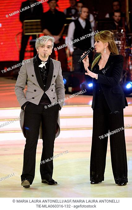 The presenter Milly Carlucci with the singer Morgan at the talent show Dancing with the stars, Rome, ITALY-05-03-2016