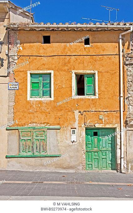 old fassade in a row of houses, Spain, Kastilien und Len, Redecilla del Camino