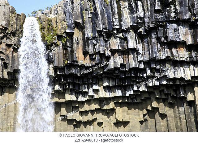 Svartifoss waterfall in Skaftafell National Park, Iceland, Europe