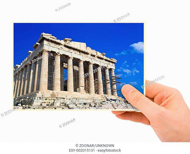 Parthenon Greece photography in hand