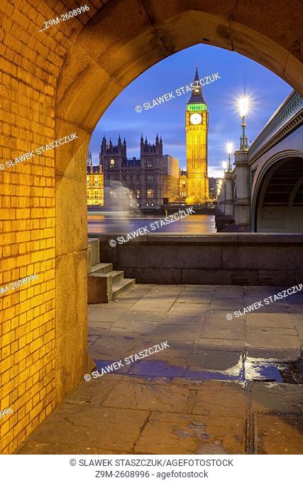 Dusk in Westminster, London, England