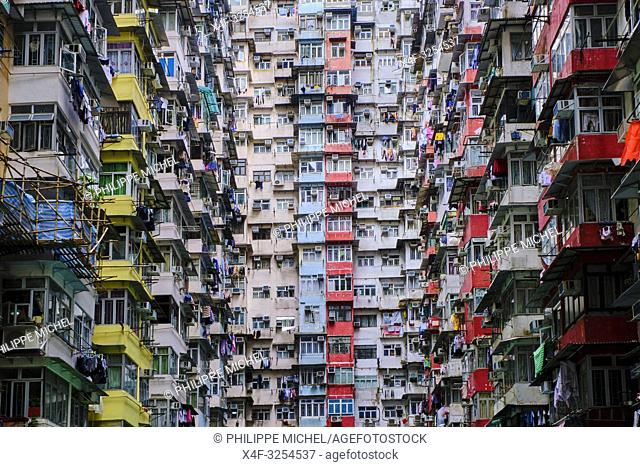 Chine, Hong Kong, Hong Kong Island, quartier d'habitation très dense / China, Hong Kong, Hong Kong Island, densely crowded apartment buildings