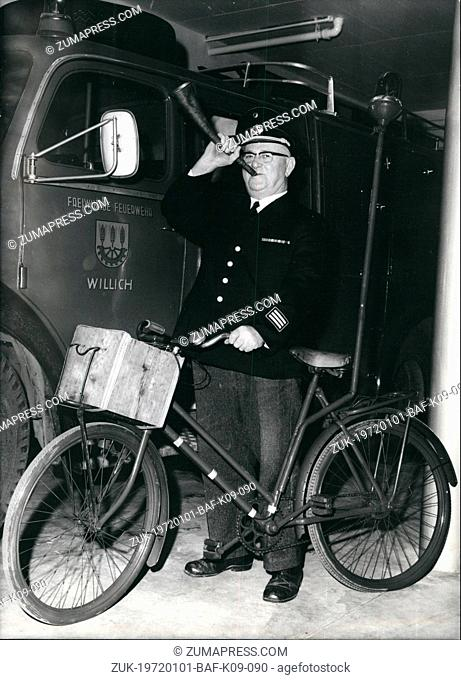 Jan. 01, 1972 - Bicycle For A Fireman: The firemen of Willich (West Germany) gave their boss a bicycle with blue signal light