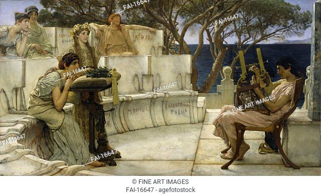 Sappho and Alcaeus. Alma-Tadema, Sir Lawrence (1836-1912). Oil on wood. Neoclassicism. 1881. Walters Art Museum, Baltimore. 66x122. Painting