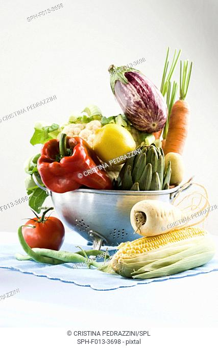 Selection of fresh vegetables in a colander