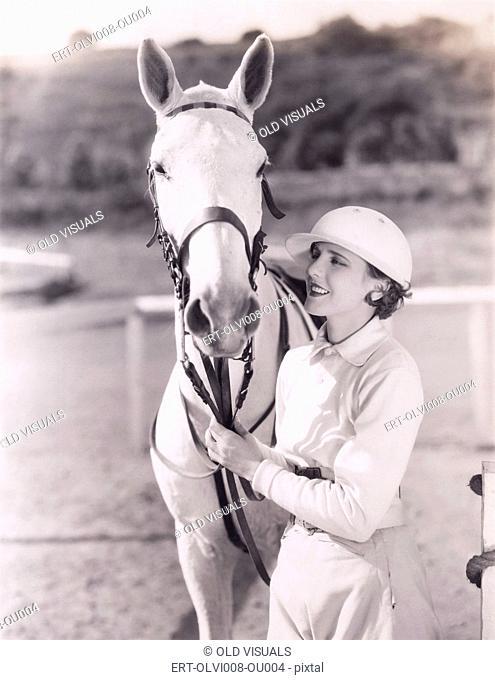 Woman with white horse (OLVI008-OU004-F)