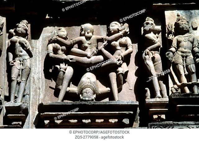 Khajuraho (india) Kandariya Mahadev Temple erotic scene 11th century A. D