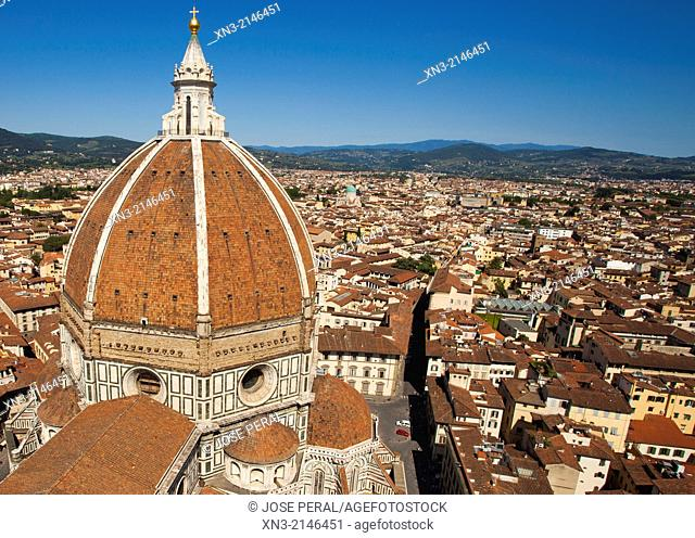 Brunelleschi's dome, Rooftops from Giotto's Bell Tower, Basilica of Santa Maria del Fiore, Piazza del Duomo, Florence, Tuscany, Italy