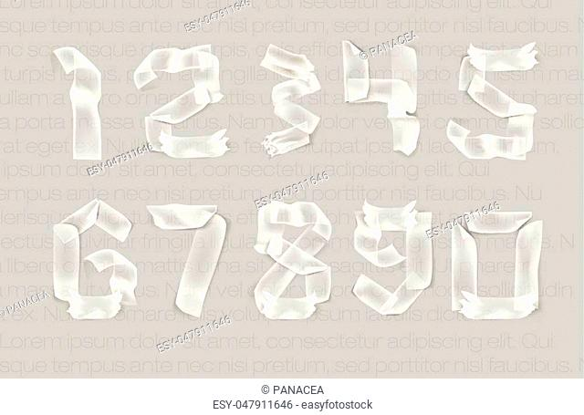 set of numbers from adhesive transparent tape