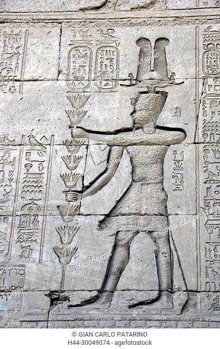Egypt,Dendera,Ptolemaic temple of the goddess Hathor.Carvings on external wall.Exemple of Damnatio-Memoriae