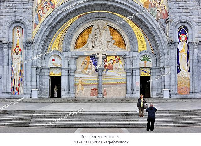 The Basilica of our Lady of the Rosary / Notre Dame du Rosaire de Lourdes at the Sanctuary of Our Lady of Lourdes, Pyrenees, France