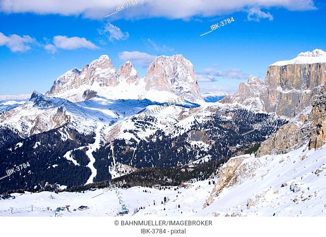 From the ski slopes above Canazei Trentino Italy to the Sella pass and the Langkofel mountains Sasso Lungo