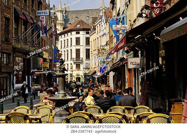 Pubs, bistros and restaurants in the Rue des Bouchers, Brussels, Belgium, Europe