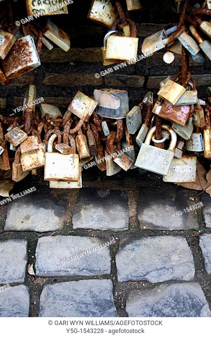 love locks on the milvio bridge in rome italy