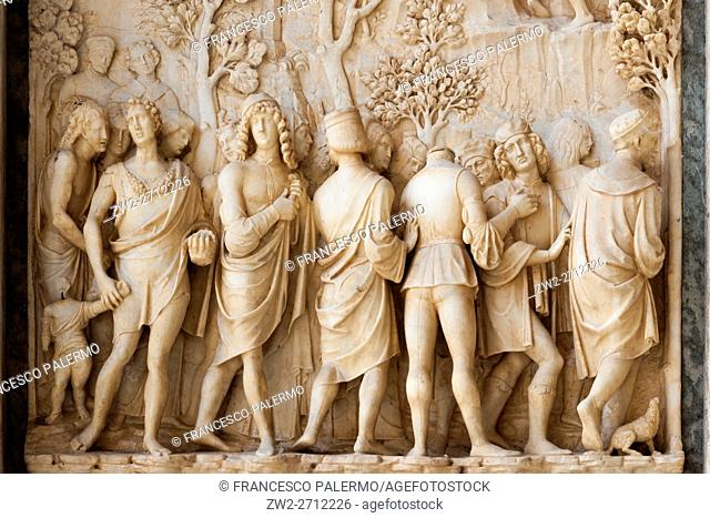 Some reliefs representing religious episodes. Certosa di pavia, Lombardia. Italy