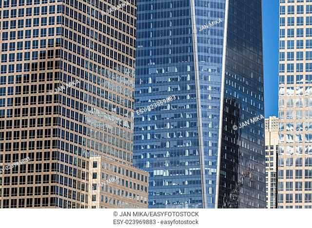 Detail of office buildings and modern skyscrapers in Manhattan, New York City