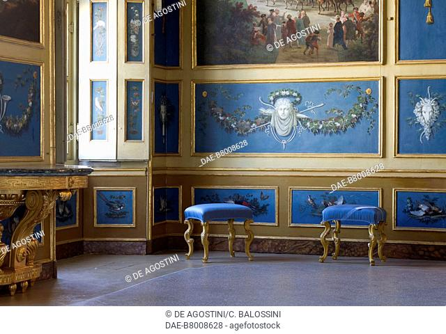 Wood paneling and blue background paintings, by Angelo Vacca (1746-1814), hall of squires, Hunting residence (UNESCO World Heritage Site, 1997)